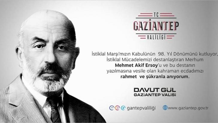 Vali Gül'den 12 Mart İstiklal Marşının Kabulü Mesajı