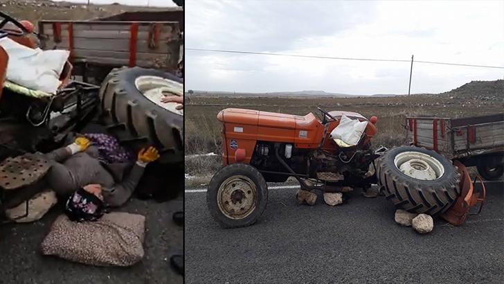 Traktör tekerleğinin altında kalan kadın yaralandı