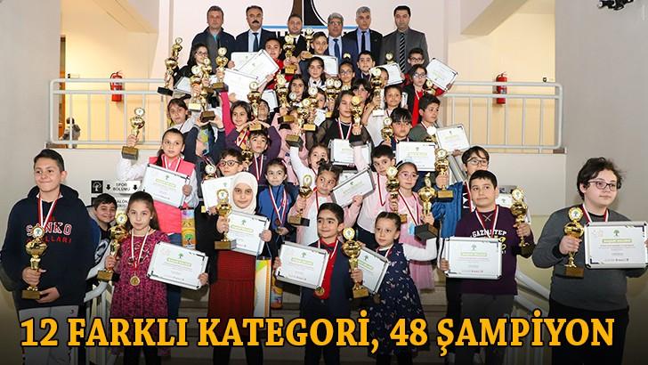 12 farklı kategoride 48 şampiyon ödül aldı